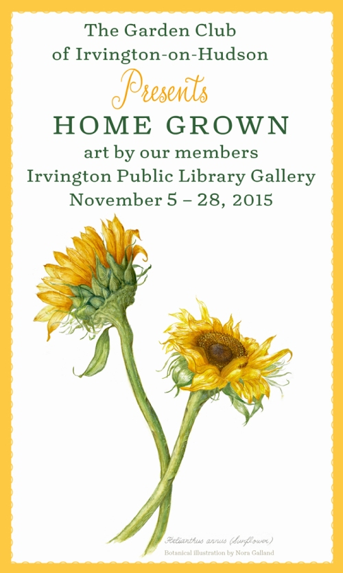 The public is cordially invited to this show featuring botanical illustrations, paintings, drawings, photography, prints, needlework and collages by our members Bunny Bauer, Barbara Defino, Nora Galland, Harriet Kelly, Edna Kornberg, Cathy Ludden, Louise Petosa, Dori Ruff, Renee Shamosh, Ellen Shapiro, Amy Sherwood, and Dongkai Zhen. The Irvington Public library is located at 12 South Astor Street, Irvington, NY 10533 Hours: Mon, Wed, Fri, Sat 10 am - 5 pm; Tues and Thurs 10 am - 9 pm. We hope to see you there!